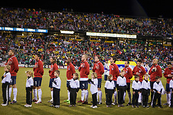 The US Men's National Team during the National Anthem.  The United States men's soccer team defeated the Mexican national team 2-0 in CONCACAF final group qualifying for the 2010 World Cup at Columbus Crew Stadium in Columbus, Ohio on February 11, 2009.