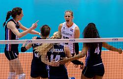 20-05-2016 JAP: OKT Italie - Nederland, Tokio<br /> De Nederlandse volleybalsters hebben een klinkende 3-0 overwinning geboekt op Itali&euml;, dat bij het OKT in Japan nog ongeslagen was. Het met veel zelfvertrouwen spelende Oranje zegevierde met 25-21, 25-21 en 25-14 / Lonneke Sloetjes #10, Debby Stam-Pilon #16