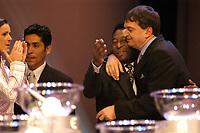 Fotball<br /> Trekning for FIFA VM 2006<br /> Frankfurt 05.12.2003<br /> Foto: Digitalsport<br /> Norway Only<br /> <br /> JORGE CAMPOS (Mexico)  - PELE (Brazil) - JEROME CHAMPAGNE (FIFA)