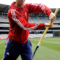 MELBOURNE - Champions Trophy men 2012<br /> England on a tour of the MCG<br /> Foto: Barry Middleton batting with his Adidas stick<br /> FFU PRESS AGENCY COPYRIGHT FRANK UIJLENBROEK