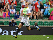 LONDON, ENGLAND - Saturday 10 May 2014, Philip Snyman of South Africa about to score his try during the match between South Africa and France at the Marriott London Sevens rugby tournament being held at Twickenham Rugby Stadium in London as part of the HSBC Sevens World Series.<br /> Photo by Roger Sedres/ImageSA