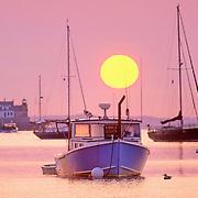 Rockalnd Harbor at sunrise. Rockland, Maine