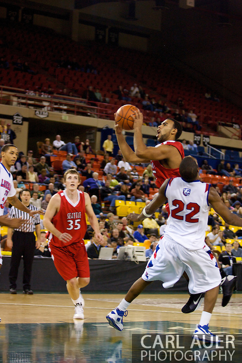 November 27, 2008: Seattle University's Shaun Burl (5) goes to the hoop past Louisiana Tech's Kyle Gibson (22) in the opening round of the 2008 Great Alaska Shootout at the Sullivan Arena