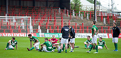 WREXHAM, WALES - Saturday, May 3, 2014: Aberystwyth Town players look dejected after losing 3-2 to The New Saints during the Welsh Cup Final at the Racecourse Ground. (Pic by David Rawcliffe/Propaganda)