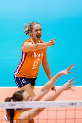 27-08-2017 NED: World Qualifications Bulgaria - Netherlands, Rotterdam<br /> De Nederlandse volleybalsters hebben in Rotterdam het kwalificatietoernooi voor het WK van volgend jaar in Japan ongeslagen afgesloten. Oranje was in z'n laatste wedstrijd met 3-0 te sterk voor Bulgarije: 25-21, 25-17, 25-23. / Maret Balkestein-Grothues #6 of Netherlands