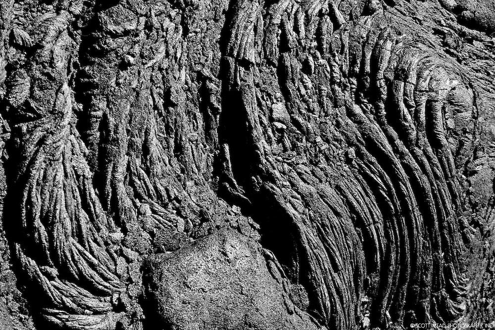 Cooled lava, form of Aa, from Kilauea Volcano, Big Island, Hawaii