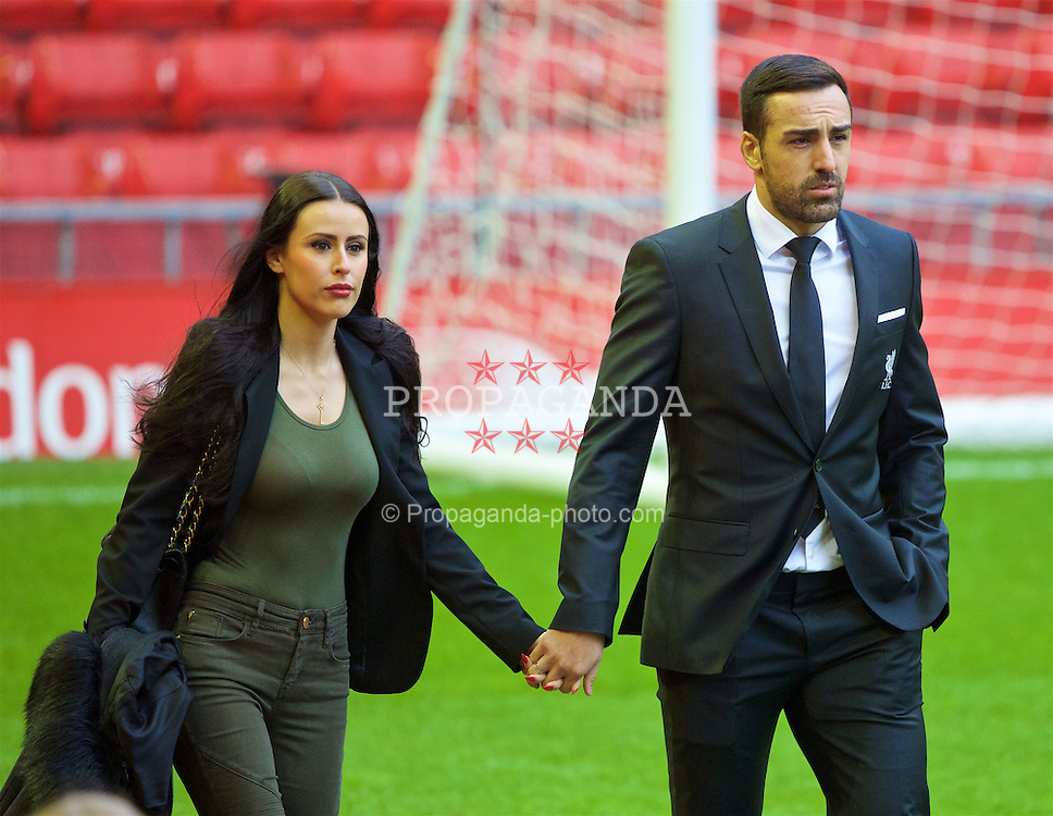 LIVERPOOL, ENGLAND - Sunday, January 17, 2016: Liverpool's Jose Enrique and his girl friend Amy Jaine arrive before the Premier League match against Manchester United at Anfield. (Pic by David Rawcliffe/Propaganda)