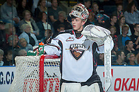 KELOWNA, CANADA - OCTOBER 1: Payton Lee #1 of Vancouver Giants looks at the crowd during the time out against the Kelowna Rockets on October 1, 2014 at Prospera Place in Kelowna, British Columbia, Canada.   (Photo by Marissa Baecker/Shoot the Breeze)  *** Local Caption *** Payton Lee;