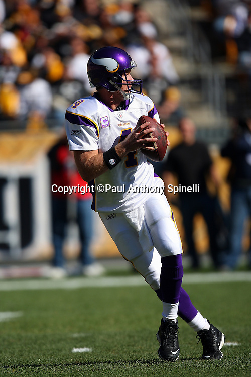 Minnesota Vikings quarterback Brett Favre (4) drops back to pass during the NFL football game against the Pittsburgh Steelers, October 25, 2009 in Pittsburgh, Pennsylvania. The Steelers won the game 27-17. (©Paul Anthony Spinelli)