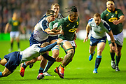 Sbu Nkosi (#14) (Cell C Sharks) of South Africa breaks a tackle during the Autumn Test match between Scotland and South Africa at the BT Murrayfield Stadium, Edinburgh, Scotland on 17 November 2018.