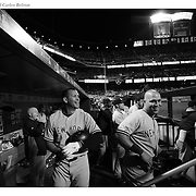 Alex Rodriguez, (left) and Carlos Beltran, New York Yankees, in the dugout during the New York Mets Vs New York Yankees MLB regular season baseball game at Citi Field, Queens, New York. USA. 20th September 2015. Photo Tim Clayton
