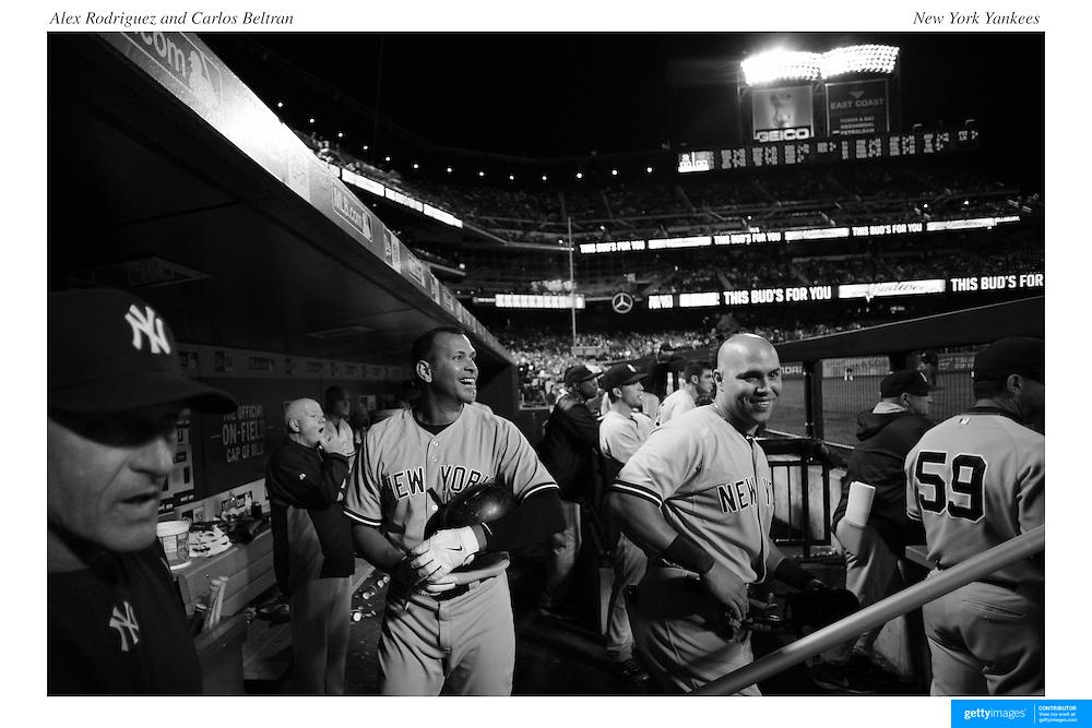 Alex Rodriguez, (left) and Carlos Beltran, New York Yankees, in the dugout during the New York Mets Vs New York Yankees MLB regular season baseball game at Citi Field, Queens, New York. USA. 20th September 2015. Photo Tim Clayton