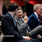 April 17, 2018 - New York, NY : The New York Times hosted Bill Nye for a conversation about climate change with New York Times science writer James Gorman and NYC Rising producer Geraldine Moriba at the Times building on Tuesday evening. Here, Neal Shapiro, President, WNET, center, with the Wirecutter's David Perpich, center left, and Bill Nye, center right. CREDIT: Karsten Moran for The New York Times