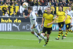 17.04.2016, Signal Iduna Park, Dortmund, GER, 1. FBL, Borussia Dortmund vs Hamburger SV, 30. Runde, im Bild Kopfball von Ivo Ilicevic (#7, Hamburger SV) vor Ilkay Guendogan (#8, Borussia Dortmund) // during the German Bundesliga 30th round match between Borussia Dortmund and Hamburger SV at the Signal Iduna Park in Dortmund, Germany on 2016/04/17. EXPA Pictures © 2016, PhotoCredit: EXPA/ Eibner-Pressefoto/ Deutzmann<br /> <br /> *****ATTENTION - OUT of GER*****