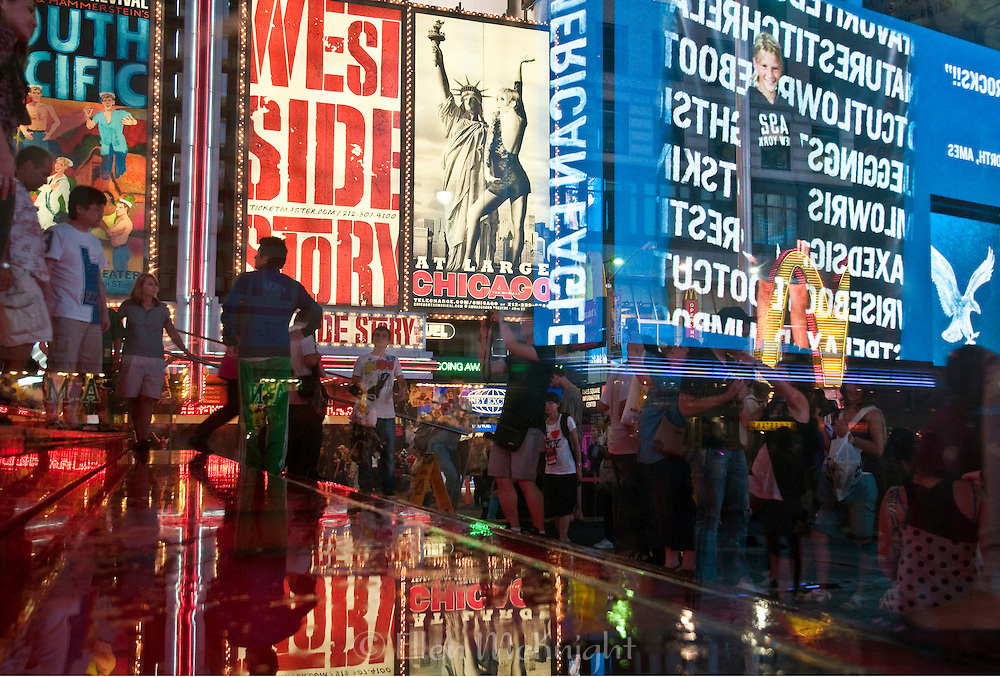 Reflections in TImes Square, New York City on a Rainy Evening