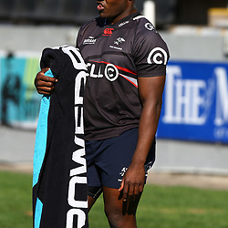 Chiliboy Ralepelle during The Cell C Sharks captain's run at Growthpoint Kings Park in Durban, South Africa. 29th June 2017(Photo by Agnes Browne Steve Haag Sports)<br /> <br /> images for social media must have consent from Steve Haag