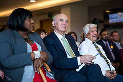 © Licensed to London News Pictures. 04/04/2018. Watford, UK. Sir Vince Cable (centre) launches the Liberal Democrat election campaign at Watford Football Club. Photo credit: Rob Pinney/LNP