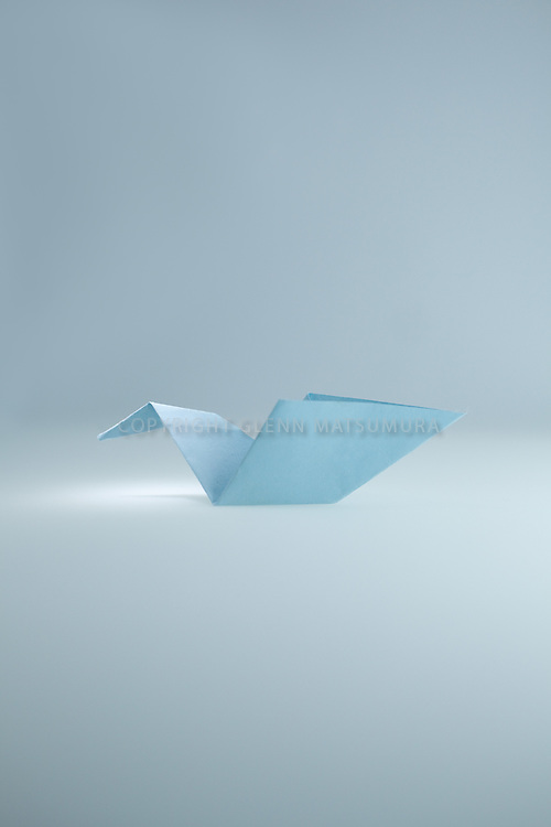Origami paper crane - blue paper crane