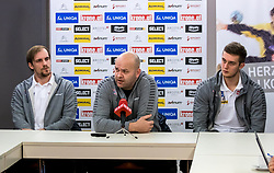 15.01.2018, Hotel Molindrio, Porec, CRO, EHF EM, Herren, Pressekonferenz Österreich, Gruppe B, im Bild , Gerald Zeiner (AUT)Trainer Patrekur Johannesson (AUT), Nikola Bilyk (AUT) // during an Austrian Press Conference during the EHF men's Handball European Championship at the Hotel Molindrio in Porec, Croatia on 2018/01/15. EXPA Pictures © 2018, PhotoCredit: EXPA/ Sebastian Pucher