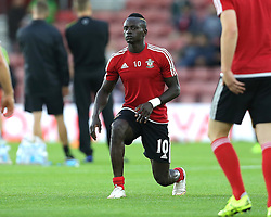 Sadio Mane of Southampton warms up before the match - Mandatory byline: Paul Terry/JMP - 07966386802 - 20/08/2015 - FOOTBALL - ST Marys Stadium -Southampton,England - Southampton v FC Midtjylland - EUROPA League Play-Off Round