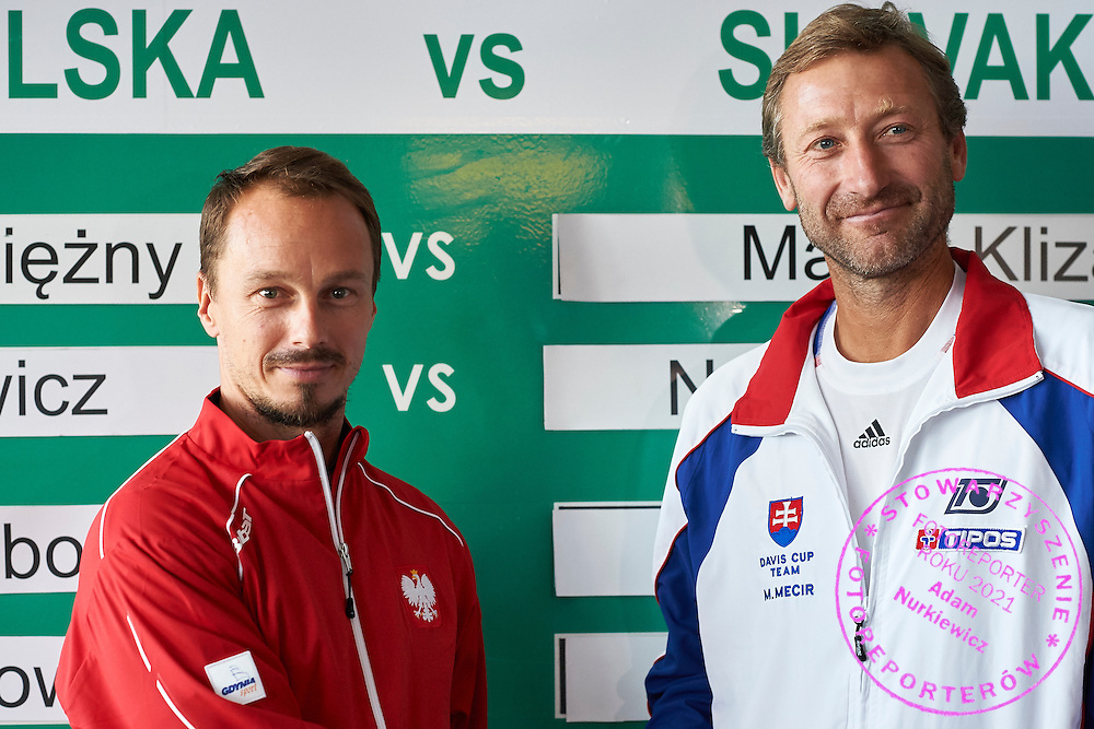 (L) Radoslaw Szymanik - captain national team of Poland and (R) Miloslav Mecir - captain national team of Slovakia during official draw one day before Davis Cup Tie World Group Play-off Poland v Slovakia at Mondo di Vinegre Restaurant in Gdynia, Poland.<br /> <br /> Poland, Gdynia, September 17, 2015<br /> <br /> Picture also available in RAW (NEF) or TIFF format on special request.<br /> <br /> For editorial use only. Any commercial or promotional use requires permission.<br /> <br /> Adam Nurkiewicz declares that he has no rights to the image of people at the photographs of his authorship.<br /> <br /> Mandatory credit:<br /> Photo by &copy; Adam Nurkiewicz / Mediasport