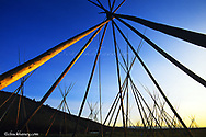Tipi poles at sunrise at the Bighole National Battlefield Site near Wisdom Montana