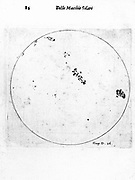 Galileo's observation of sunspots.  From Galileo Galilei 'Istoria', Rome 1613. Engraving
