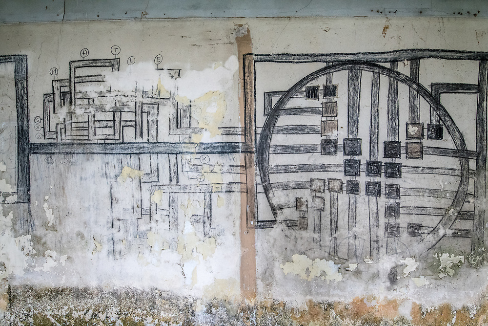 Some sort of map over the walls of the abandoned Ducor Hotel, once the most prominent hotels in Monrovia, LiberiaMonrovia, Liberia