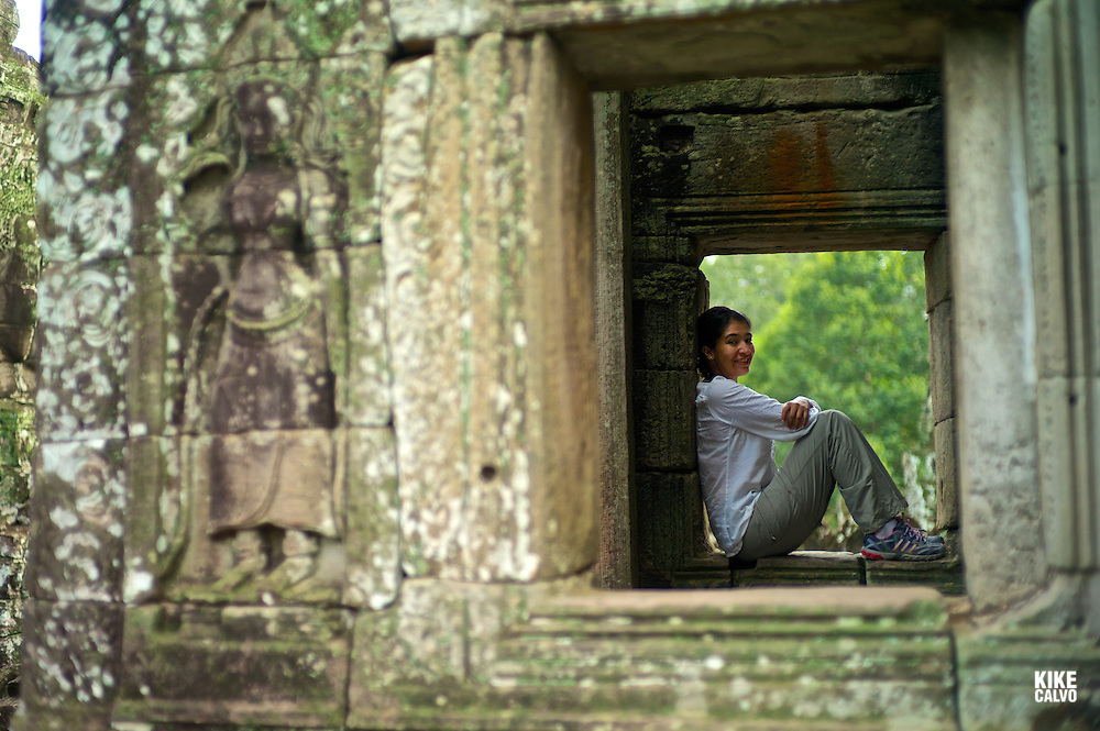 Ancient ruins of Bayon Temple, Angkor, Cambodia.