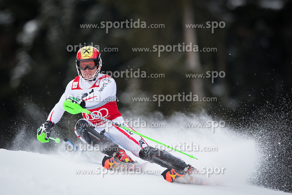 27.01.2013, Ganslernhang, Kitzbuehel, AUT, FIS Weltcup Ski Alpin, Slalom, Herren, 1. Lauf, im Bild Marcel Hirscher (AUT) // Marcel Hirscher of Austria in action during 1st run of the  mens Slalom of the FIS Ski Alpine World Cup at the Ganslernhang course, Kitzbuehel, Austria on 2013/01/27. EXPA Pictures © 2013, PhotoCredit: EXPA/ Johann Groder