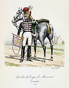 Trumpeter from the  Royal bodyguard of the heir to the throne, 1820.  From 'Histoire de la maison militaire du Roi de 1814 a 1830' by Eugene Titeux, Paris, 1890.