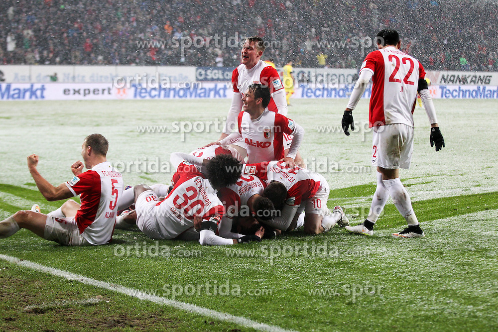 01.02.2015, SGL Arena, Augsburg, GER, 1. FBL, FC Augsburg vs TSG 1899 Hoffenheim, 18. Runde, im Bild die Mannschaft freut sich ueber das Tor von Raul Bobadilla #25 (FC Augsburg) // during the German Bundesliga 18th round match between FC Augsburg and TSG 1899 Hoffenheim at the SGL Arena in Augsburg, Germany on 2015/02/01. EXPA Pictures &copy; 2015, PhotoCredit: EXPA/ Eibner-Pressefoto/ Kolbert<br /> <br /> *****ATTENTION - OUT of GER*****
