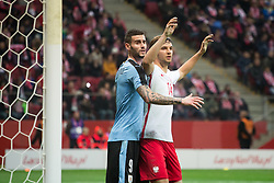 November 10, 2017 - Warsaw, Poland - Gaston Pereiro (U9) and Bartosz Bereszynsk (P14)during the international friendly soccer match between Poland and Uruguay at the PGE National Stadium in Warsaw, Poland on 10 November 2017  (Credit Image: © Mateusz Wlodarczyk/NurPhoto via ZUMA Press)