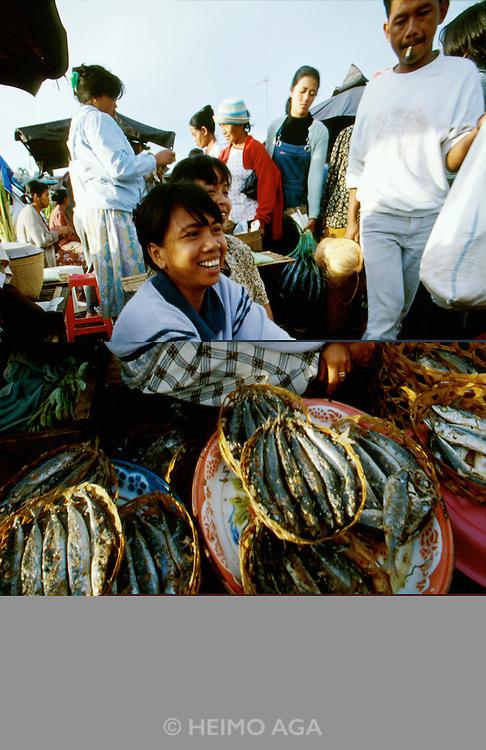 Market at Baturiti near Lake Bratan. Baskets with fish.