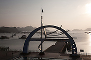 Cat Ba Ferry terminal at dusk, Cat Ba Island, Vietnam