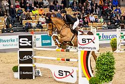ORSCHEL Cassandra (POL), BOOMER<br /> Neumünster - VR Classics 2020<br /> Voltaire Design Preis<br /> CSI-YH1* 1. Qualifikation zum Theurer Trucks Youngster-Cup<br /> International nach Strafpunkten & Zeit (1,35m) für 7-8-jähr.Pferde<br /> 14. Februar 2020<br /> © www.sportfotos-lafrentz.de/Stefan Lafrentz