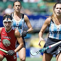 DEN HAAG - Rabobank Hockey World Cup<br /> 37 3rd Place match: Argentina - USA<br /> Foto: Noel Barrionuevo (blue) and Melissa Gonzalez (red).<br /> COPYRIGHT FRANK UIJLENBROEK FFU PRESS AGENCY