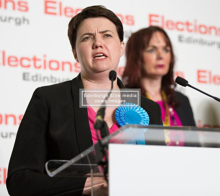 Scottish Parliament Election 2016 Royal Highland Centre Ingliston Edinburgh 05 May 2016; Ruth Davidson (Scottish Conservative leader) gives her acceptance speech in front of Alison Dickie (SNP) during the Scottish Parliament Election 2016, Royal Highland Centre, Ingliston Edinburgh.<br /> <br /> (c) Chris McCluskie | Edinburgh Elite media