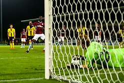 Albert Adomah of Aston Villa sees his penalty saved by Harry Campbell of Burton Albion - Mandatory by-line: Robbie Stephenson/JMP - 28/08/2018 - FOOTBALL - Pirelli Stadium - Burton upon Trent, England - Burton Albion v Aston Villa - Carabao Cup