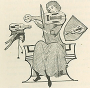 Reinmar of Hagenau, also known as Reinmar the Elder, 12th century German Minnesinger, playing a small stringed instrument, possibly a vielle. Wood engraving after a 13th century manuscript.