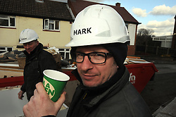 © Licensed to London News Pictures. 12/03/2013.The BBC's DIYSOS team are in Orpington, Kent this week till the (21.03.2013). Nick Knowles and the team of builders  which includes local tradesmen arrived on the (12.03.2013) to help build a family in need a new home.. Mark Millar - Builder.Photo credit : Grant Falvey/LNP