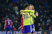 Everton Midfielder Tom Davies celebrates Everton's late controversial goal with Everton Defender Mason Colgate during the Premier League match between Crystal Palace and Everton at Selhurst Park, London, England on 21 January 2017. Photo by Jon Bromley.