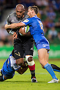 Nemani Nadolo of the BNZ Crusaders is held up by Dane Haylett-Petty of the Western Force during the Canterbury Crusaders v the Western Force Super Rugby Match. Nib Stadium, Perth, Western Australia, 8th April 2016. Copyright Image: Daniel Carson / www.photosport.nz