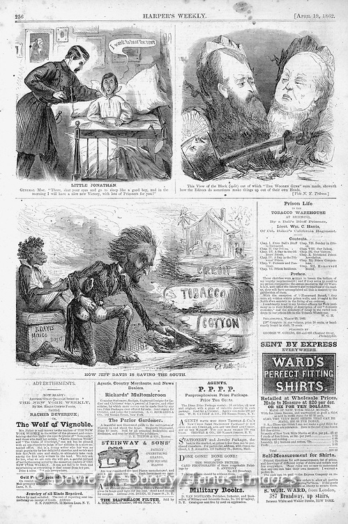 Civil War Political cartoons and advertisements Harper's Weekly April 19, 1862.