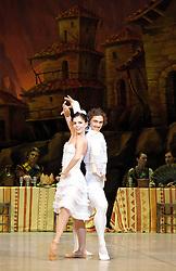 Laurencia, The Mikhailovsky Ballet, London Coliseum, London, Great Britain..Act 2..Ivan Vasiliev as Frondoso ..Natalia Osipova as Laurencia, April 2, 2013. Photo by Elliott Franks / i-Images...Contact..Andrew Parsons: 00447545 311662.Stephen Lock: 00447860204379