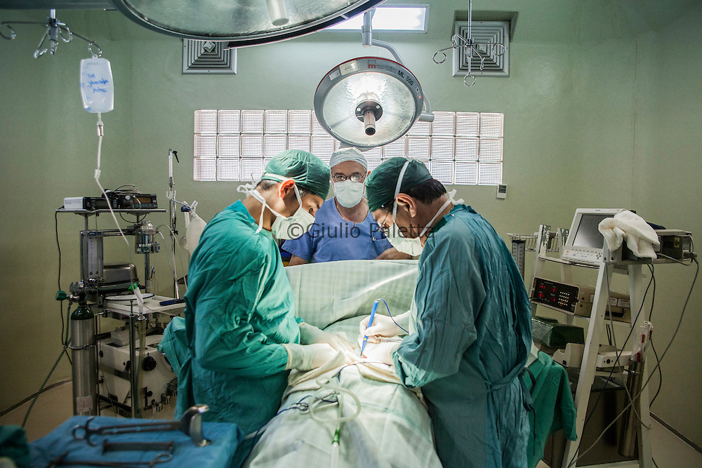 Italian doctor Pietro Gamba inside the surgery room in his hospital in Anzaldo, near Cochabamba, in the Bolivian Andes