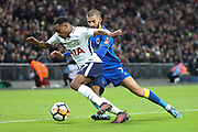 AFC Wimbledon defender George Francomb (7) battles for possession with Kyle Walker-Peters of Tottenham Hotspur (37)  during the The FA Cup 3rd round match between Tottenham Hotspur and AFC Wimbledon at Wembley Stadium, London, England on 7 January 2018. Photo by Matthew Redman.
