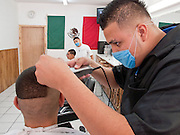 Apr. 27, 2009 -- NOGALES, SONORA, MEXICO: Oscar Perez, a barber in Meny's barbershop in Nogales, Sonora, Mexico, cuts a customer's hair while he wears a mask to protect him from the swine flu. The Mexican government broadened its efforts to control the outbreak of swine flu Monday closing schools throughout the country. In Nogales, on Mexico's northern border with the US, people started wearing masks as news of the outbreak spread.  Photo by Jack Kurtz