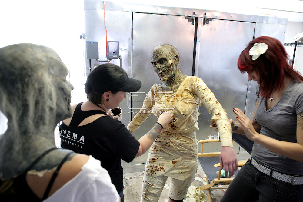 23rd October 2008, Los Angeles, California. Extreme Makeover!  Students at the Cinema Makeup School in Hollywood California, graduate from a special effects make-up course.  In this part of the course, movie industry hopefuls learn to design and create latex masks over a period of four weeks, before demonstrating their competence by transforming models into drag queens, aliens and monsters in only eight hours. Pictured is: Danielle Ruth from Melbourne, Australia as a scary mummy. PHOTO © JOHN CHAPPLE / REBEL IMAGES.john@chapple.biz    www.chapple.biz.(001) 310 570 9100.