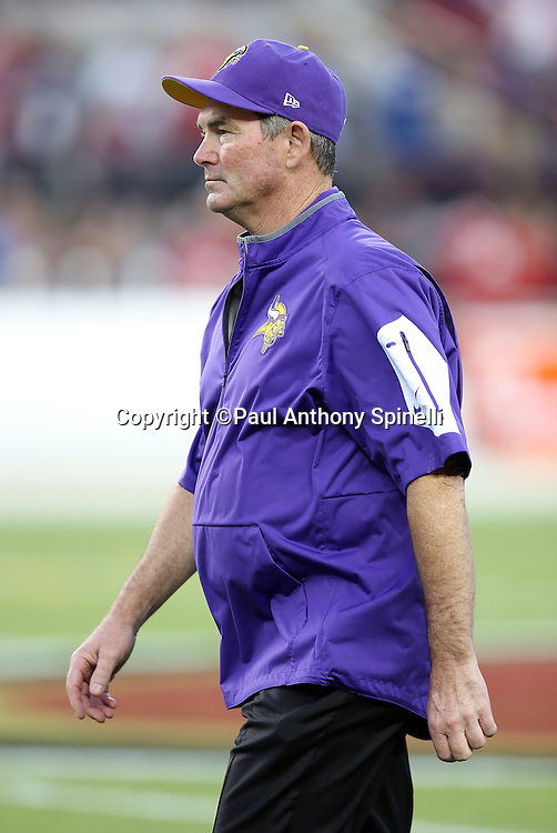 Minnesota Vikings head coach Mike Zimmer looks on during pregame warmups before the 2015 NFL week 1 regular season football game against the San Francisco 49ers on Monday, Sept. 14, 2015 in Santa Clara, Calif. The 49ers won the game 20-3. (©Paul Anthony Spinelli)